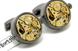 Vintage Steampunk Cufflinks with Functioning Watch Movement