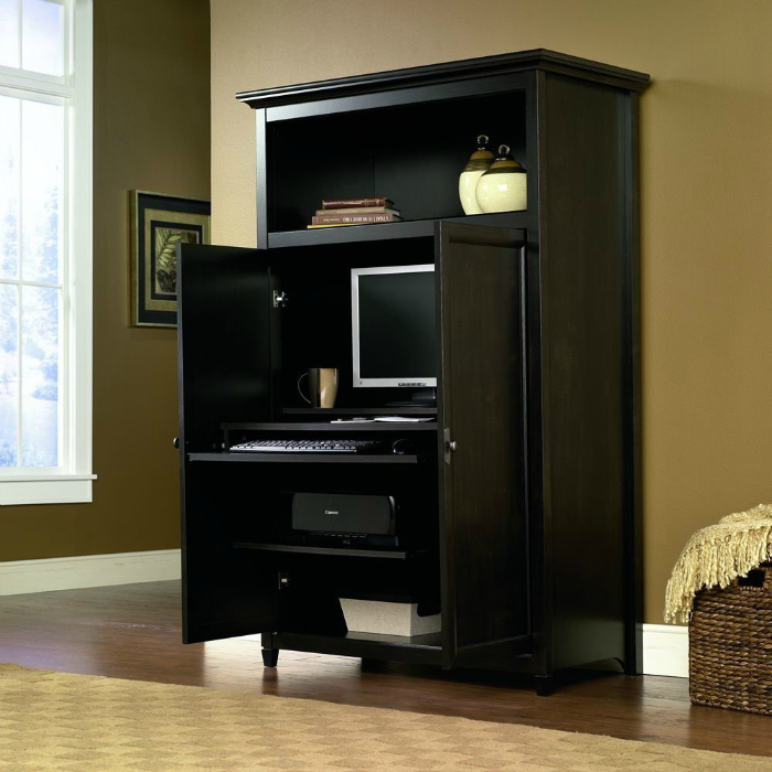 space saving computer armoire with concealed work desk. Black Bedroom Furniture Sets. Home Design Ideas